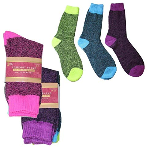 DINY Home & Style 6 Pair Womens Ladies Warm All Weather Multi Purpose Socks Comfort Blend Winter Snow Cold Weather Gear