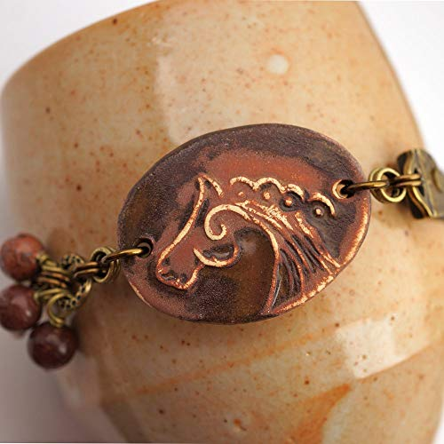 Brown horse bracelet with red creek jasper beads, earthtone ceramic and leather, brass, 7 3/4 inches long ()