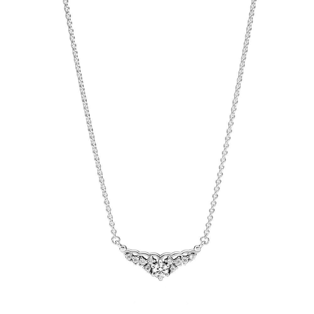 Pandora Fairytale Tiara Necklace, Clear CZ, Adjustable Sizes 396227CZ-45 Centimeters 17.7 Inches