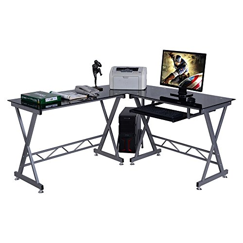 LTL Shop Black L-Shape Computer Desk PC Glass Top Laptop Table Workstation - Sc Greenville Outlets