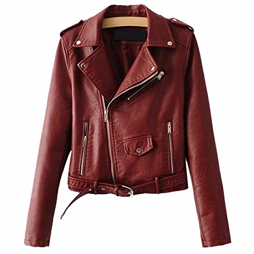 Coat Wine Leather Winter Jacket Red Belt Sleeve Zipper PU Z Leather Suede Cool Jacket Moto Streetwear Long Ladies' Qiyun Women Jackets Faux qxHawn1C