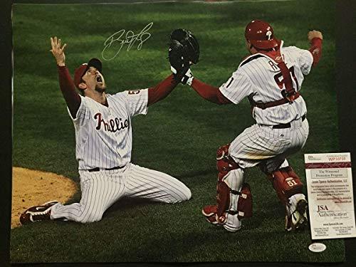 (Autographed/Signed Brad Lidge w/Ruiz Philadelphia Phillies 16x20 Baseball Photo JSA COA )