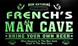 qa1442-g FRENCH's Man Cave Football Game Room Bar Neon Beer Sign