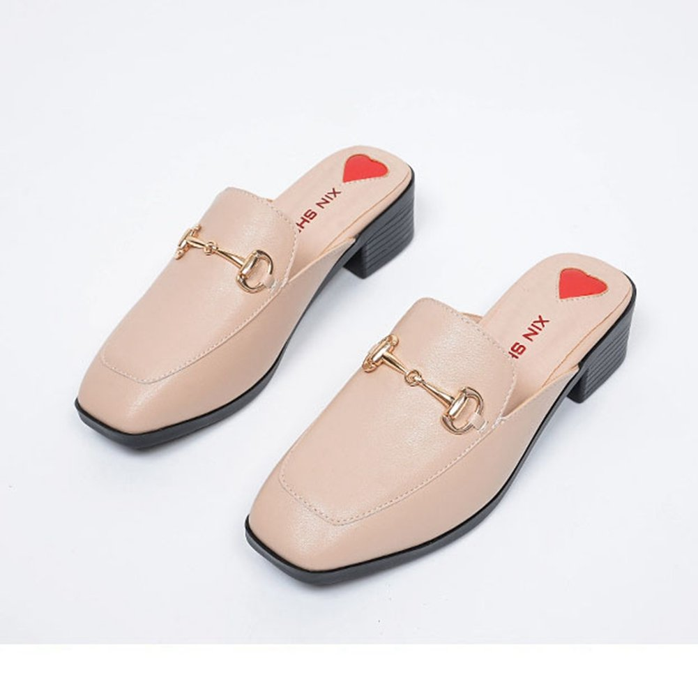 T-JULY Womens Ladies Fashion Heel Shoes Casual Dressy Slip On Mule Backless Loafer Slide Apricot