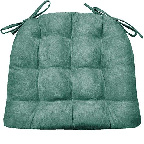 (Barnett Products Dining Chair Pad with Ties - Microsuede Turquoise - Size Standard - Reversible Latex Foam Filled Cushion, Machine Washable, Micro Fiber Ultra Suede (Teal))