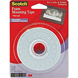 "2 Rolls Scotch Permanent Wall Mounting Tape Foam Double Sided 0.5"" x 150"" by 3M"