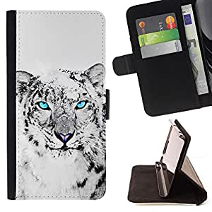 BullDog Case - FOR/HTC Desire 820 / - / cool snow leopard black white animal cat /- Monedero de cuero de la PU Llevar cubierta de la caja con el ID Credit Card Slots Flip funda de cuer