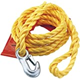 2000KG CAPACITY TOW ROPE WITH FLAG - High visibility polypropylene with 'On TowÕ sign and warning flag. Hooped one end and a zinc plated safety hook on the other. Display packed. by Draper