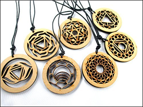 Celtic Wooden Round Reiki 7 Necklace Pendant Chakra Set Jet International Healing Crystals Engraved Carved Holistic Health Care (Health Engraved Pendant)