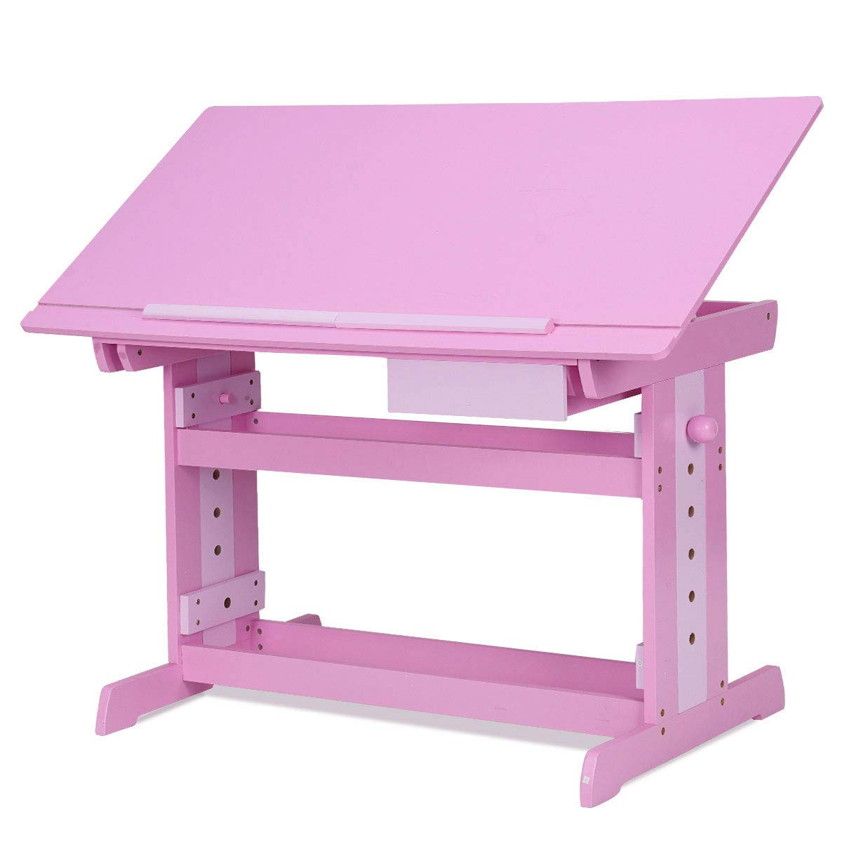 Costzon Adjustable Children Desk Drafting Table Art & Craft Drawing Desk w/Drawer Pink