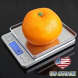HIGHMIGOU 3000g/0.1g Portable Mini Electronic Digital Food Scale Pocket Case Postal Kitchen Jewelry Weight Balance Digital Scale (Silver) 51dpF 2B4csHL