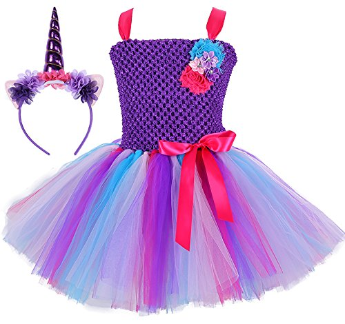 Tutu Dreams Unicorn Tutu Outfits for Little Girls 3T 4T Birthday Party with Headband (Purple, Medium) -