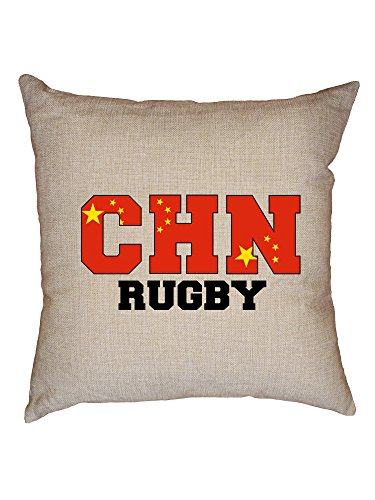 Hollywood Thread China Rugby - Olympic Games - Rio - Flag Decorative Linen Throw Cushion Pillow Case with Insert