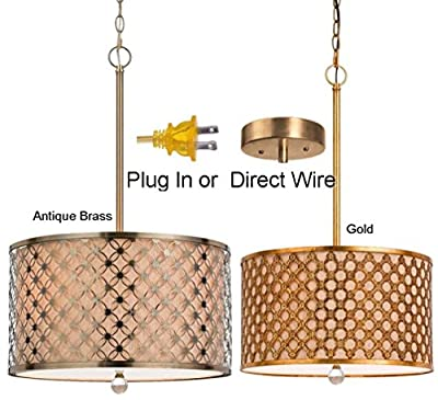 PLUG IN or DIRECT WIRE (Antique Brass or Gold) Natural Linen Burlap Drum Swag Lamp or Pendant Light Chandelier