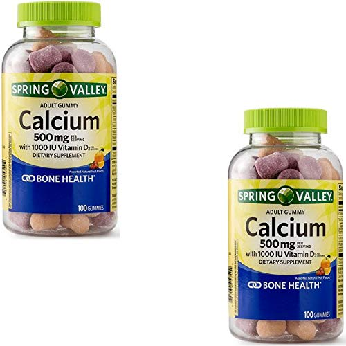 Spring Valley Calcium Plus Vitamin D Adult Gummies, 500 mg, 100 Ct (2 Pack)