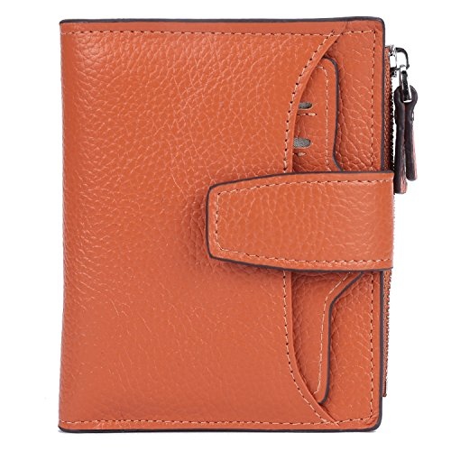 AINIMOER-Womens-RFID-Blocking-Leather-Small-Compact-Bi-fold-Zipper-Pocket-Wallet-Card-Case-Purse-with-id-Window