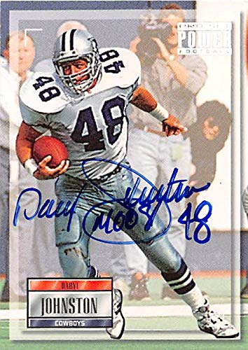 Daryl Moose Johnston autographed football card (Dallas Cowboys) 1993 Pro Set Power #48