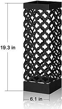 Portaoggetti portaombrelli in Metallo Quadrato Bianco Bastone da Passeggio e Bastone in corridoio portaombrelli con Ganci e gocciolatoio per ombrellone Lungo e Corto