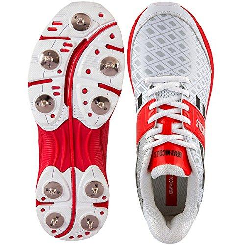 Gray-Nicolls Atomic - Scarpe da cricket con tacchetti, Uomo, White/Red/Black