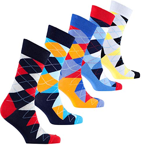 Socks n Socks - Men's 5-pair Colorful Argyle Luxury Cotton Dress Socks Gift Box -