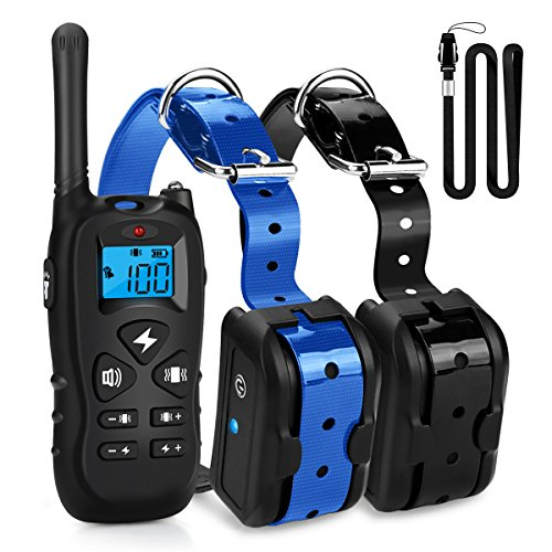 Collars Electric Training Dog (Mothca Dog Training Collar 2 Dogs With Remote 1800ft [2018 New Version] Waterproof Rechargeable with Beep/Vibration/Electric Shock Modes for Small Medium Large Dogs - No Problem Swimming/Shower)
