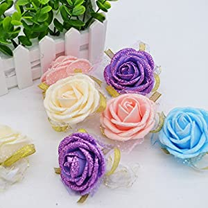 6Cm Pe Foam Rose Bridesmaid Silk Flowers Wrist Flowers Artificial Bride Flowers For Event Wedding Decoration Supply 75