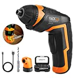 Tacklife Cordless Rechargeable Screwdriver 3.6-Volt 2000mAh Li-ion MAX Torque 4N.m -- LED, 31pcs