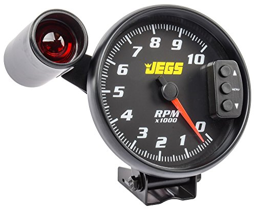 JEGS Performance Products 41263 5 Tachometer Black Face & Black Bezel 0-10 000 R