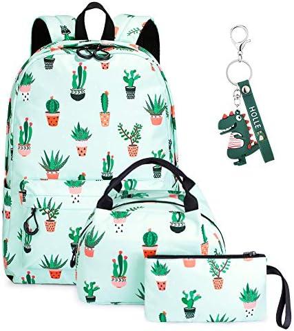 SUVOM Mochilas escolares para niñas con fiambrera y estuche ligero resistente al agua 3 en 1 para adolescentes, Cactus (Verde) - SAB6167X: Amazon.es: Ropa y accesorios