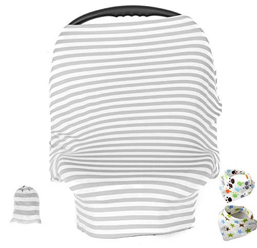 Baby Car Seat Cover ,Nursing Cover,Car seat Canopy Covers Multi-Use Infant Car seat Canopy Covers Shopping Cart High Chair Stroller- Best Multi-Use Infinity Stretchy Shawl (Gray/White (Chair Car)