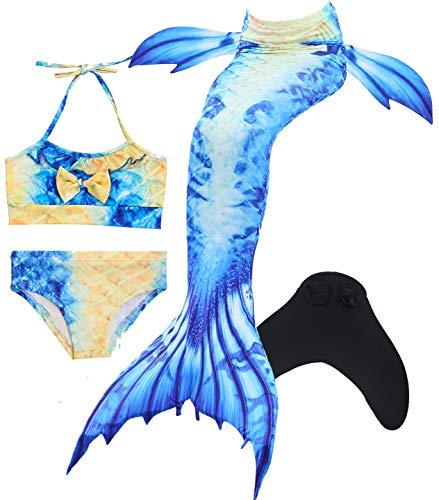 Mermaid Tails for Swimming,with Monofin,Children Mermaid Clothing Cosplay,Swimmable Tail Swimsuit 4PCS Sets (Places To Have A Bat Mitzvah Party)