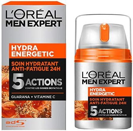 LOréal Men Expert Hydra Energetic Soin Hydratant Anti-Fatigue Visage Homme 50 ml: Amazon.es: Salud y cuidado personal