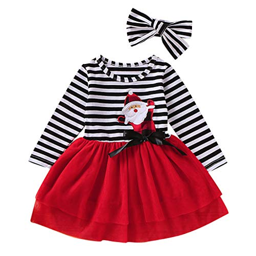 2Pcs Baby Girls Clothes Christmas Santa Striped Print Tulle Dress Long Sleeve Cartoon Skirt +Headband Outfits Set Red