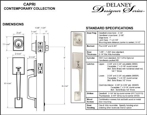 Delaney Capri Design Contemporary Satin Nickel Handleset with Cira Interior Lever Hardware (We Key Lock Orders Alike for Free)