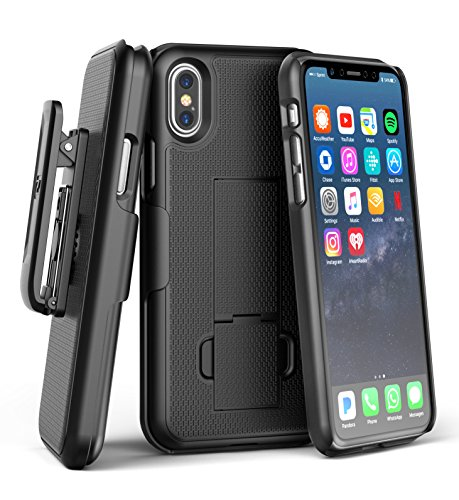 iPhone X Belt Clip Case & Screen Protector, Encased [DuraClip] Slim Fit Holster Shell Combo (w/ Rubberized Grip Finish) For Apple iPhone X – 2017 Release (Smooth Black)