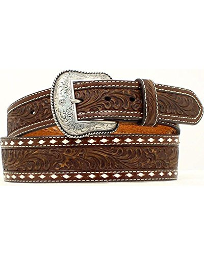 Nocona Belt Co. Men's Brown Wide Cross Buckstitch, 34