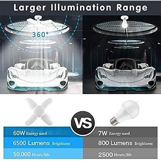 LED Garage Lights 60W Deformable Garage Ceiling Light, 6000lm 6000K E26 Base LED Shop Light Screw in Light Bulb Trilight Adjustable Utility Light for Shop Workshop Workbench Basement Warehouse