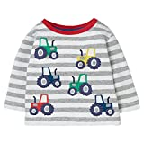 Little Boys Cotton Knitted Crewneck Sweatshirt Stripes Printed Pullover Pajamas Tractor Pattern Size 6T