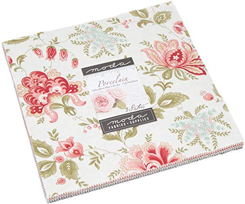 Porcelain Layer Cake, 42-10 inch Precut Fabric Quilt Squares by 3 Sisters ()