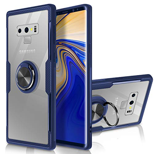 Galaxy Note 9 Case,WATACHE Clear Crystal Carbon Fiber Design Armor Protective Case with Finger Ring Grip Holder Kickstand [Work with Magnetic Car Mount] for Samsung Galaxy Note 9,Clear/Blue Frame