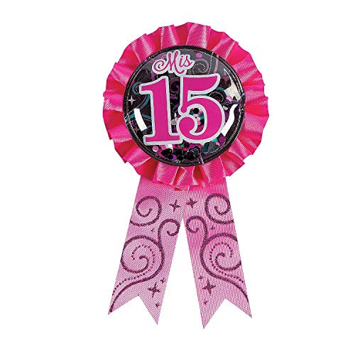 Quince Anos Sash - Fun Express - Mis Quince Anos Confetti Award Ribbon for Birthday - Party Supplies - Licensed Tableware - Misc Licensed Tableware - Birthday - 1 Piece