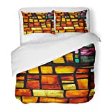 SanChic Duvet Cover Set Colorful Jesus Stained Glass Manchester Cathedral Faith Christian Gothic Decorative Bedding Set with 2 Pillow Shams Full/Queen Size