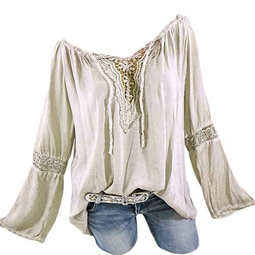 (AMOFINY New Women Boho Lace Print Long Sleeve Off Shoulder Top Blouse Plus Size Beige)