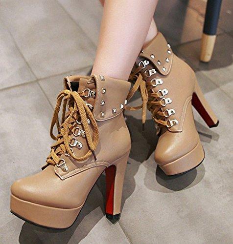 Round Heels Shoes Lace Stylish Booties Up Studded High Apricot Platform Chunky Aisun Toe Women's 7CvHw5I