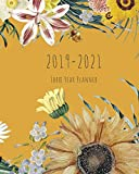 2019-2021 Three Year Planner: Yellow Floral Cover, Daily, Monthly Calendar 36 Months Calendar Agenda Planner with Holiday 8' x 10'