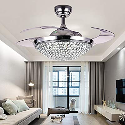 """A Million 42"""" Crystal Ceiling Fan Light with Retractable Blades Remote Control LED Chandelier Fan 3 Speeds 3 Colors Changes Lighting Fixture, Silent Motor with LED Kits Included"""
