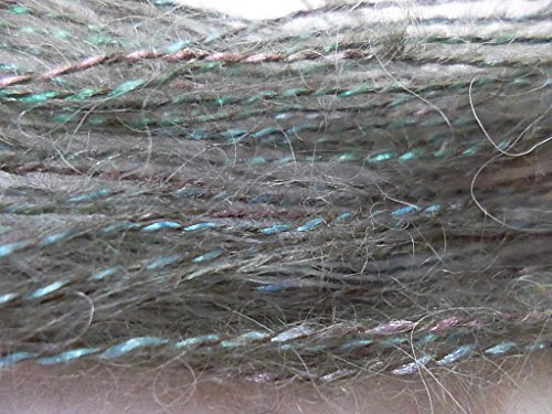 Fancy Brushed Gray Mohair plied with Turquoise & Pink Rayon Knitting Crochet ()