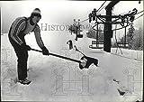 Vintage Photos 1983 Press Photo Frank Gabriel Shovels Snow on Ski Slope of Mount Spokane