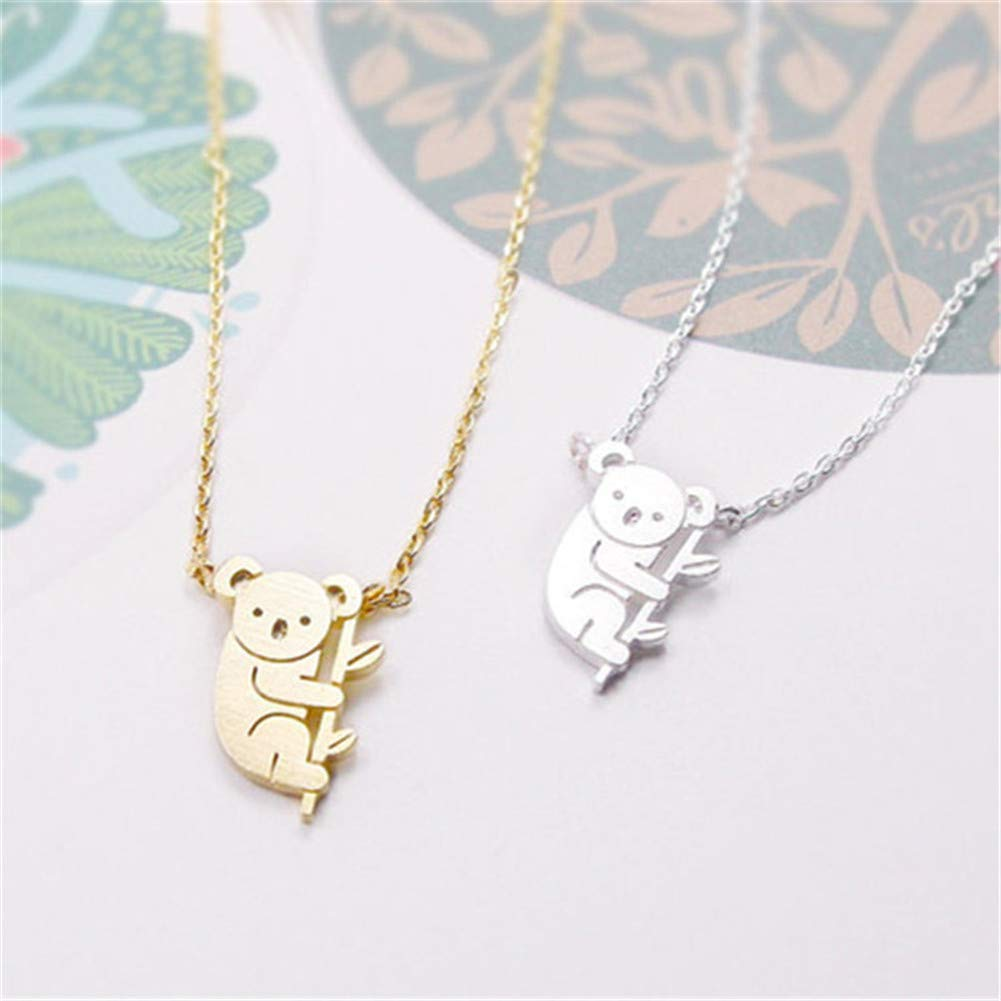 Aineecy Cute Koala Bear Necklace Lovely Pet Animal Choker Clavicle Chain Necklace for Women Teen Girls Koala Animal Lover Jewelry