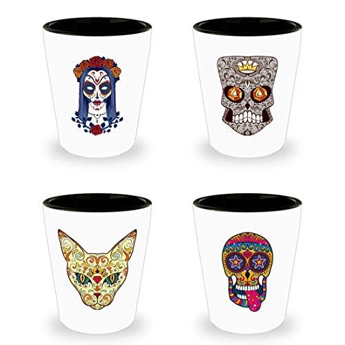 Sugar Skull Shot Glasses Set of 4 - Day of the Dead Tequila Shot Glass - Colorful Dia De Los Muertos Mexican Folk Art - Four Novelty Shotglasses - Ceramic - White -